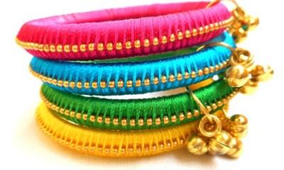 Silk thread bells bangles