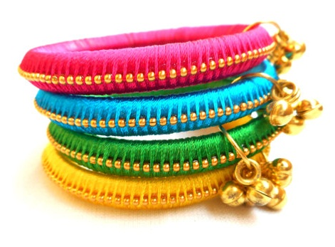 Silk thread bells bangles