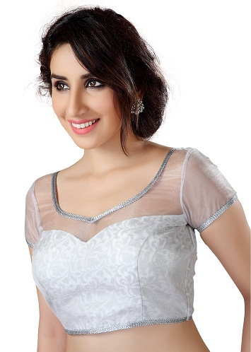 Silver Blouse with Inner-Cut