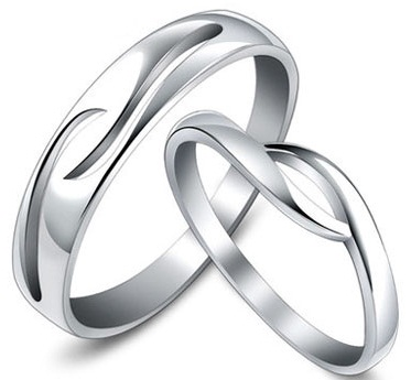 Silver Couple Rings with Cutout water Design