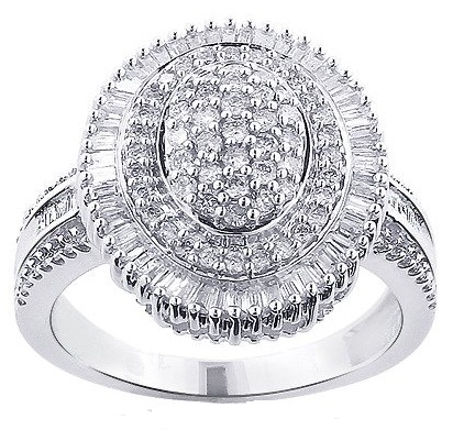 Silver Diamond Cluster Ring