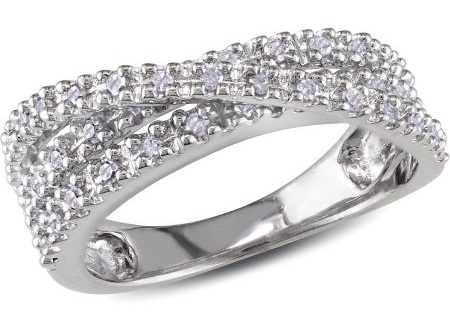 Silver Diamond Crossover Ring