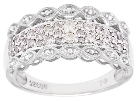 Silver Diamond Lace Inspired Ring