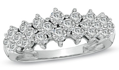 Silver Diamond Pave Cluster Pyramid Band Ring
