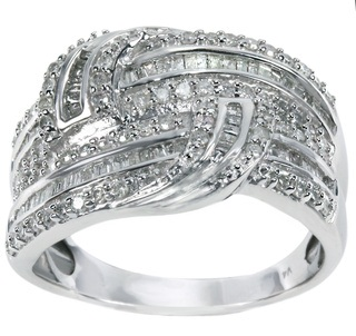 Silver Diamond Twisted Ring