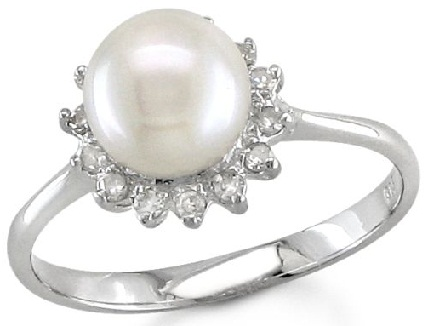 Silver Engagement Ring with Pearl