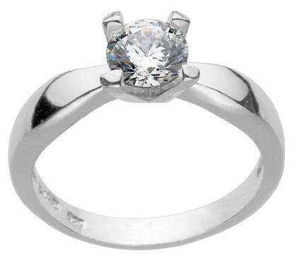Silver Engagement Ring with Solitaire