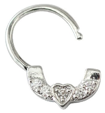 Silver Heart Engraved Nose Ring