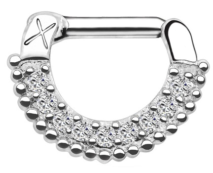 Silver Hoop Nose Ring with Crystals