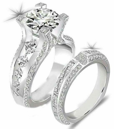 Silver Ring Engagement Set