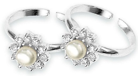 Silver Toe Rings with Diamonds and Pearl