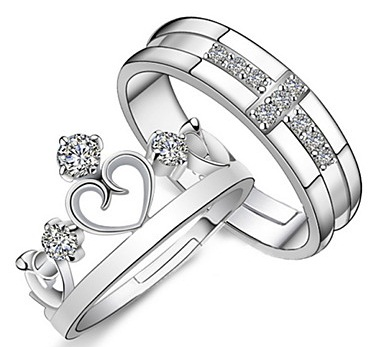 Silver Wedding Ring Set