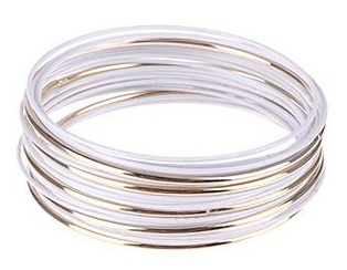 Simple Metal White Bangles