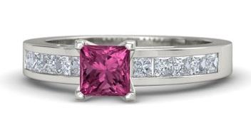Simple Silver Princess Cut Diamond Ring