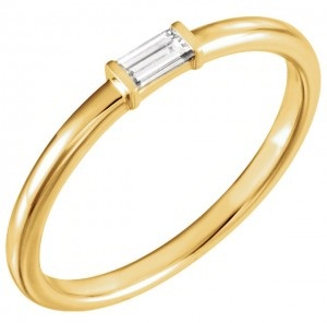 Single Baguette Stackable Diamond Band Ring
