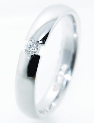 Single Diamond Stud Silver Ring