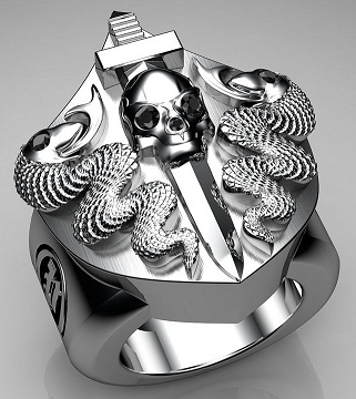 Snake and Skull Embossed Sterling Silver Rings for Men