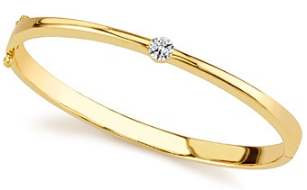 Solid Gold Band with Solitaire Diamond