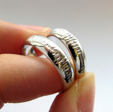 Sound wave with names engraved couples rings