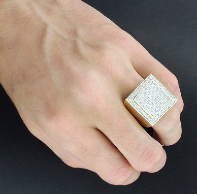 Square Shaped Big Gold Ring for Men