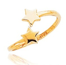 Star Embossed Gold Toe Ring