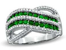 Sterling Silver Emerald Criss Cross Engagement Rings