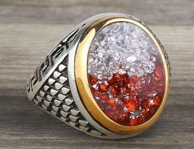 Sterling Silver Red and White Stone Ring for Men