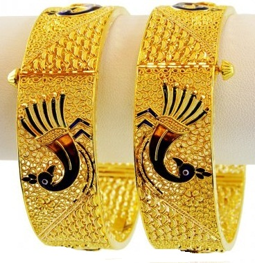 Stone studded Peacock with Gold Bangle