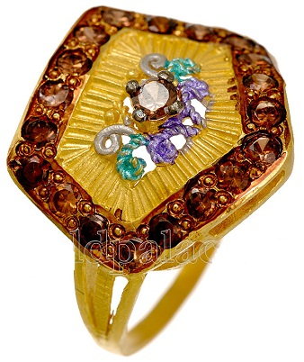 Stylish Gold Ring with Coloured Stones