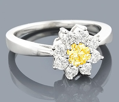 . Sunflower designed yellow diamond ring