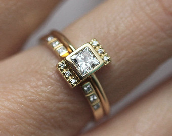 Sunset Wedding Ring Set
