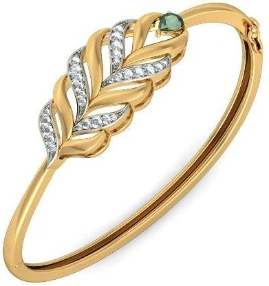 Thin Gold Bangle with Leaf Design
