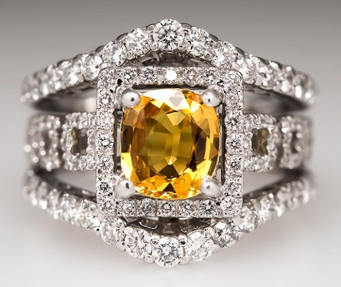 Three Layer Yellow Diamond Ring