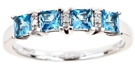 Topaz Diamond Princess Cut Ring