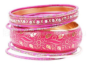 Traditional Stone and Glitter Pink Bangles