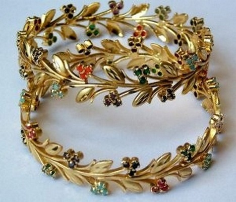 Trendy Gold Bangle with Stones