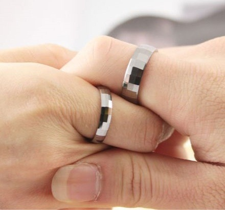Tungsten couples engagement rings