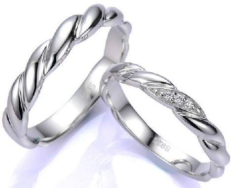 Twisted Silver Couple Rings