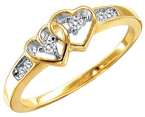 Two heart designed gold engagement ring