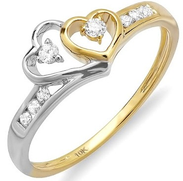Two Heart Shaped Diamond Wedding Ring