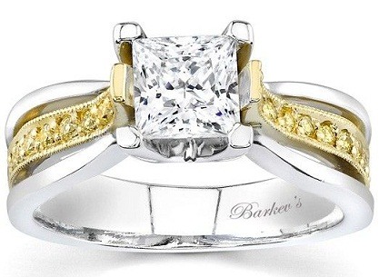 Two Tone Princess Cut Engagement Ring