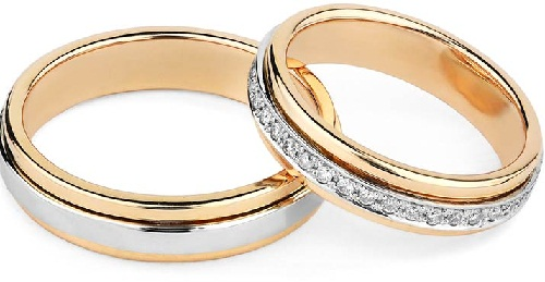 Two tone engagement rings for couples