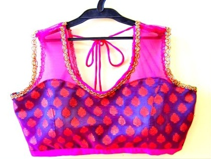 Velvet-Net Princess Cut Readymade blouse