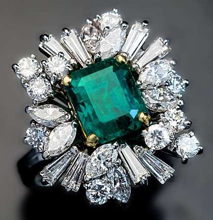 Vintage Asymmetrical Emerald Engagement Ring