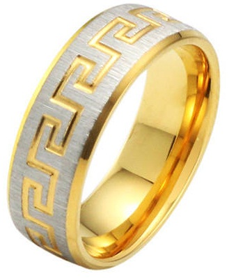 Wall Pattern Big Gold Ring for Men