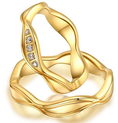 Wavy Gold Couples Rings
