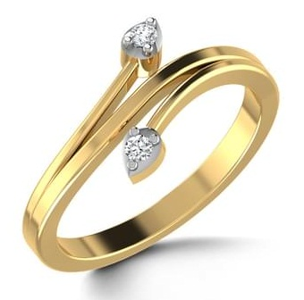 Wedding Ring with Two Diamond Hearts