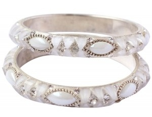 White Bangles with Stones