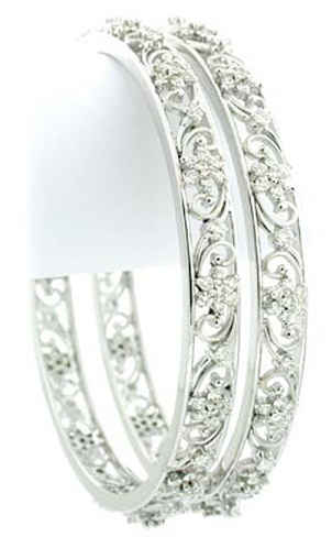 White Gold Bangles with Diamond Studded