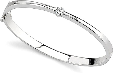 White Gold-Glitz Solitaire Bangle